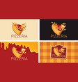 set business cards with a slice pizza vector image vector image