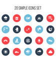 set of 20 editable weather icons includes symbols vector image vector image