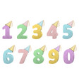 set of volume numbers with party hats vector image vector image