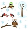 set winter elements vector image vector image