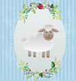 Sheep in decorative frame vector image vector image