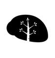 silhouette brain eco icon concep tnature thinking vector image vector image