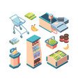 supermarket equipment isometric set shopping vector image vector image