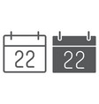thanksgiving calendar line and glyph icon vector image