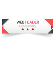 web header abstract red black design white backgro vector image
