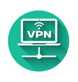 white vpn computer network icon isolated with long vector image vector image