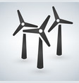 windmill turbine icon drop shadow silhouette vector image