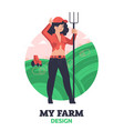 woman farmer with hayfork vector image vector image