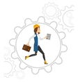 Woman running inside the gear vector image vector image