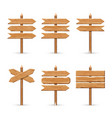 wooden arrow signs board set wood vector image vector image