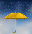 Yellow umbrella in rain vector image vector image