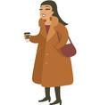 young girl wearing teddy coat vector image vector image