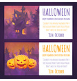 Set of Halloween banners with spooky haunted house vector image