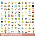 100 ecology book icons set flat style vector image vector image