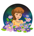 A girl surrounded by flowers vector image vector image
