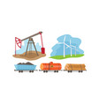 alternative and fossil energy sources set vector image vector image