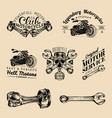 biker club signs motorcycle repair logos vector image vector image