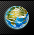 Bright realistic earth planet with clouds