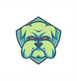 bulldog green shield vector image
