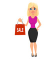 business woman cartoon character cute blonde vector image