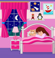 cartoon little girl sleeping vector image
