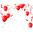 celebration background with red balloon and confet vector image