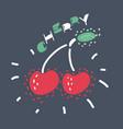 cherry icon on dark vector image