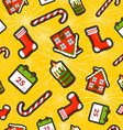 Christmas elements patch icon pattern background vector image vector image