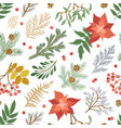 christmas seamless pattern with plants and flowers vector image vector image