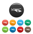 city helicopter icons set color vector image vector image