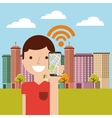 cityscape with wifi service vector image vector image