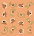 cute chipmunk and leafs pattern background vector image vector image