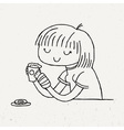 Cute doodle girl with cup of tea and donut vector image vector image