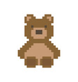 cute pixelated brown bear vector image
