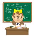 cute schoolgirl sitting at table over blackboard vector image vector image