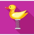 Duck spring see saw icon flat style vector image vector image