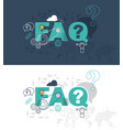 faq website banner design concept vector image vector image