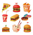 Fast food dishes with drinks and desserts