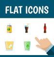 flat icon beverage set of lemonade cup fizzy vector image vector image