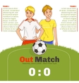 Flyer with two young footballers with copy-space vector image