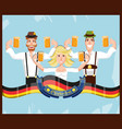 german people with beer oktoberfest celebration vector image
