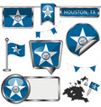 glossy icons with flag of houston tx vector image vector image
