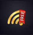 golden wifi icon with red ribbon and text vector image vector image