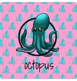 Green octopus on a pink background vector image vector image