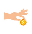 hand with coin dollar business finance vector image vector image