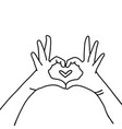 hands in heart shape hand drawn linear vector image