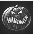 Happy Halloween chalk lettering with pumpkin vector image vector image