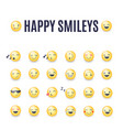 happy smileys icon set emoticons vector image vector image