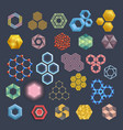 hexagon icons design elements different vector image vector image