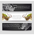 Horizontal banners set with chinese dragons vector image vector image